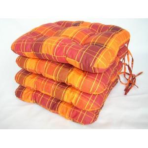 Sedák na židli 40x40 cm oranžová kostka SET 4ks