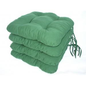 Sedák na židli 40x40 cm barva zelená tmavá  SET 4ks