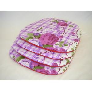 Sedák na židli klasik fialové květy AKCE 3+1