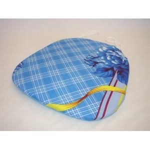 Sedák na židli klasik motiv modrý květ