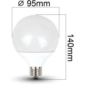 LED žárovka E27 10W 810lm G95 denní, ekvivalent 60W