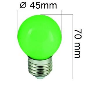 Barevná LED žárovka E27 1W zelená