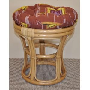 Ratanová taburetka medová polstr hnědý list