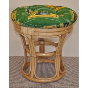 Ratanová taburetka  medová polstr zelený