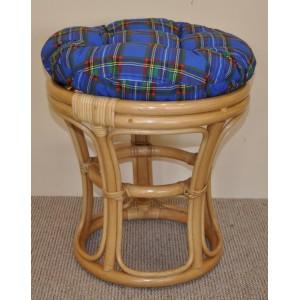 Ratanová taburetka medová polstr modrý
