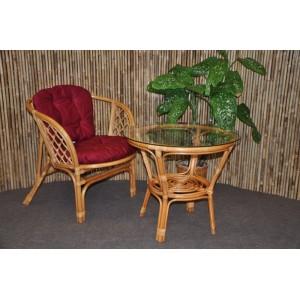 Ratanová sedací souprava Bahama 1+1 medová, polstr vínový