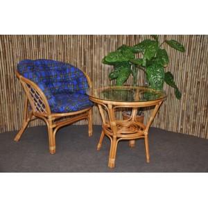 Ratanová sedací souprava Bahama 1+1 medová, polstr modrý MAXI