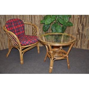 Ratanová sedací souprava Bahama 1+1 brown wash polstr červený