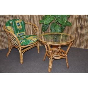 Ratanová sedací souprava Bahama 1+1 brown wash polstr zelený