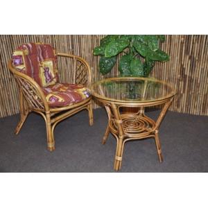Ratanová sedací souprava Bahama 1+1 brown wash polstr hnědý list