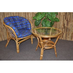 Ratanová sedací souprava Bahama 1+1 brown wash polstr modrý MAXI