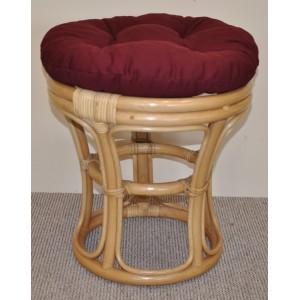 Ratanová taburetka  medová polstr vínový