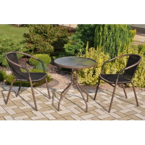 Zahradní nábytek kov + umělý ratan 2+1
