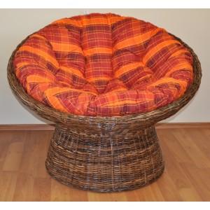 Ratanový papasan Croco polstr oranžová kostka