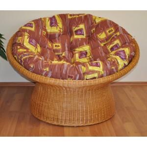 Ratanový papasan wicker polstr hnědý list
