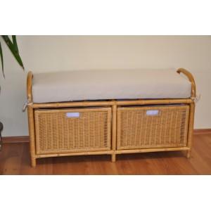 Ratanová taburetka double se zásuvkami medová