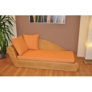 Ratanová odpočinková pohovka medová pravá polstr oranžový