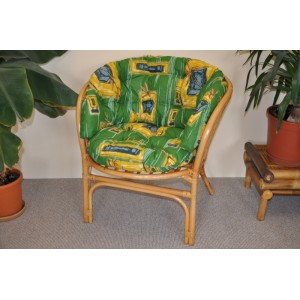 Ratanové křeslo Bahama medové polstr MAXI zelený
