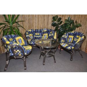 Ratanová sedací souprava Bahama velká hnědá, polstr MAXI modrý list