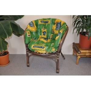 Ratanové křeslo Bahama hnědé polstr zelený MAXI