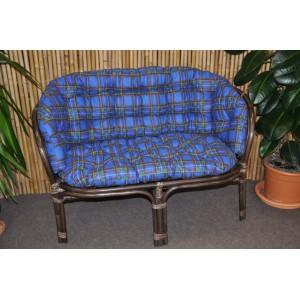 Ratanová lavice Bahama hnědá modrý polstr MAXI
