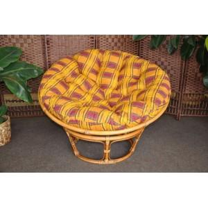 Ratanový papasan brown wash 110 cm polstr okrový