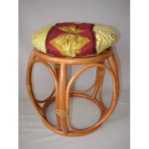 Ratanová taburetka široká koňak polstr vínový motiv