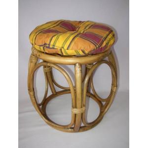 Ratanová taburetka brown wash široká polstr okrový