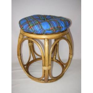 Ratanová taburetka brown wash široká polstr modrý