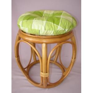 Ratanová taburetka široká medová polstr zelená kostka