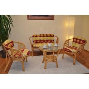 Ratanová sedací souprava Bahama medová velká polstry vínový motiv