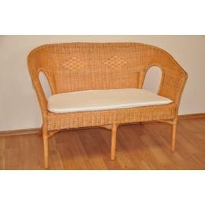 Ratanová lavice Fabion medová s polstrem bílým