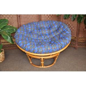 Ratanový papasan brown wash 110 cm polstr modrý