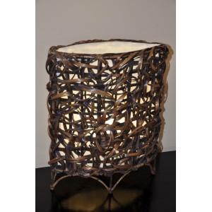 Lampa bambusová malá oválná včetně LED žárovky