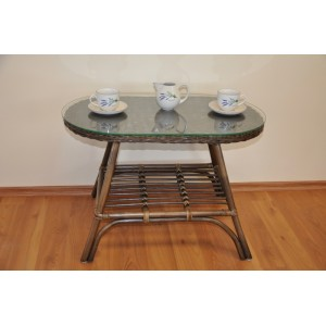 Ratanový stolek Fabion oválný hnědý