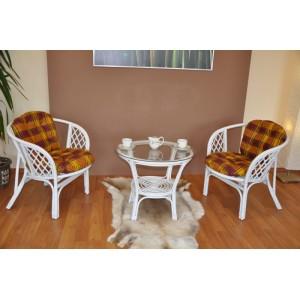 Ratanová sedací souprava Bahama bílá 2+1, polstry okrová kostra