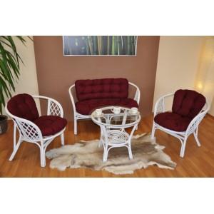 Ratanová sedací souprava Bahama velká bílá, polstr vínový