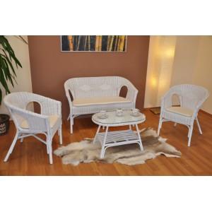 Ratanová sedací souprava Fabion velká bílá polstry bílé