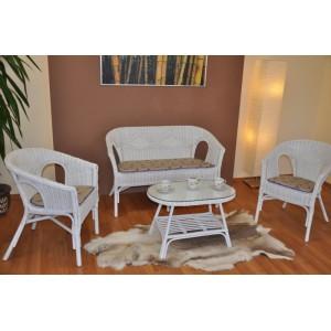 Ratanová sedací souprava Fabion velká bílá polstry levandule