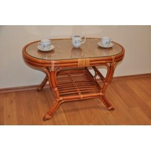 Ratanový stolek Kina oválný koňak