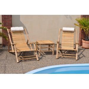 Souprava dvou bambusových lehátek + stolek