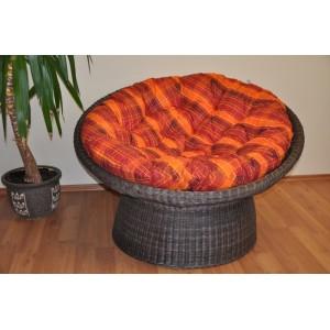 Polstr na křeslo papasan 110 cm oranžová kostka