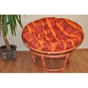 Ratanový papasan 110 cm koňak, polstr oranžová kostka