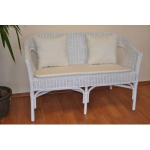 Ratanová lavice Fabion bílá polstry přírodní bílé