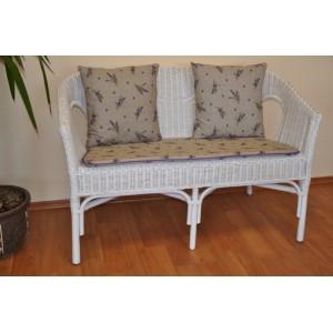 Ratanová lavice Fabion bílá polstry levandule