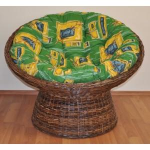 Ratanový papasan Croco polstr zelený