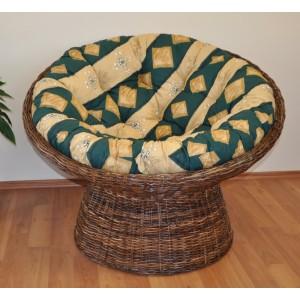 Ratanový papasan Croco polstr zelený motiv