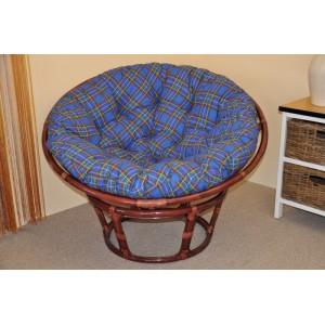 Ratanový papasan 110 cm mahagon, polstr modrý