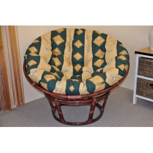 Ratanový papasan 110 cm mahagon, polstr zelený motiv