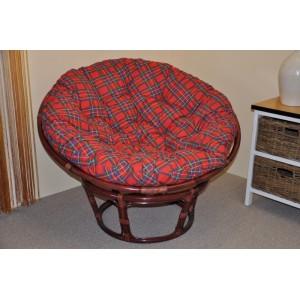 Ratanový papasan 110 cm mahagon, polstr červený